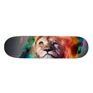 Colorful lion looking up Feathers Space Universe Skateboards
