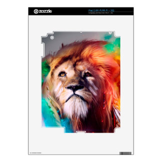 Colorful lion looking up Feathers Space Universe Skin For The iPad 2