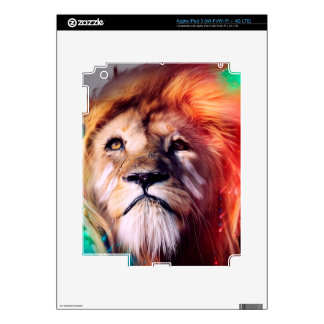 Colorful lion looking up Feathers Space Universe Decals For iPad 3
