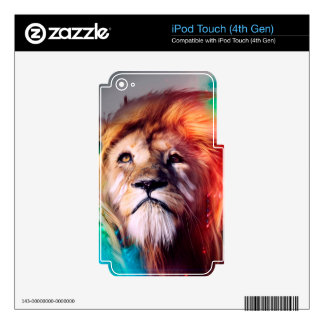 Colorful lion looking up Feathers Space Universe Skin For iPod Touch 4G