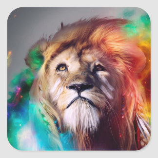 Colorful lion looking up Feathers Space Universe Square Sticker