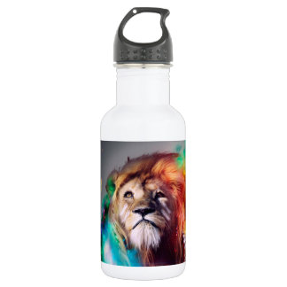 Colorful lion looking up Feathers Space Universe Stainless Steel Water Bottle