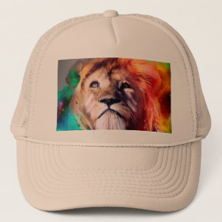 Colorful lion looking up Feathers Space Universe Trucker Hat
