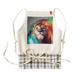 Colorful lion looking up Feathers Space Universe Zazzle HEART Apron