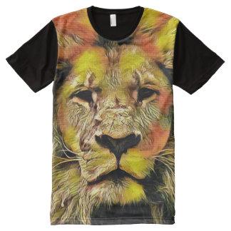 Colorful Lion Portrait Acrylic Paint All-Over-Print Shirt