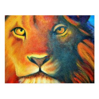 Colorful Lion Portrait Oil Painting Postcard