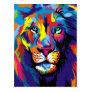 Colorful lion postcard