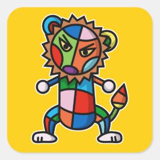 colorful Lion Square Sticker