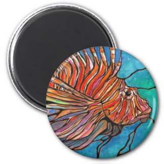 """Colorful Lionfish """"Stained Glass"""" Style Art! 2 Inch Round Magnet"""