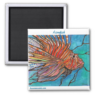 """Colorful Lionfish """"Stained Glass"""" Style Art! 2 Inch Square Magnet"""