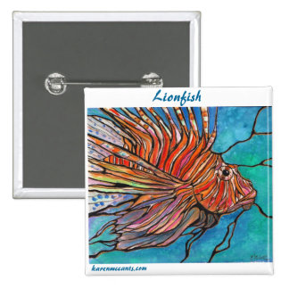"Colorful Lionfish ""Stained Glass"" Style Art! Button"