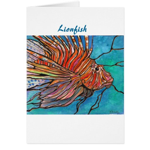 "Colorful Lionfish ""Stained Glass"" Style Art! Greeting Cards"
