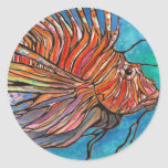 """Colorful Lionfish """"Stained Glass"""" Style Art! Classic Round Sticker"""