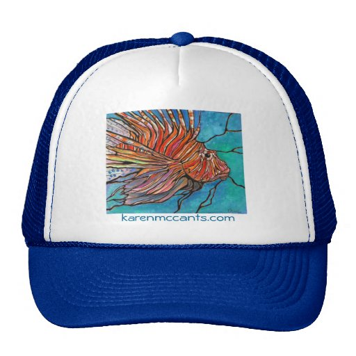 "Colorful Lionfish ""Stained Glass"" Style Art! Hats"