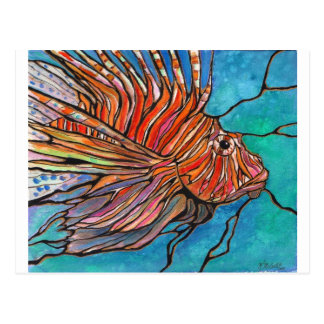 "Colorful Lionfish ""Stained Glass"" Style Art! Postcard"