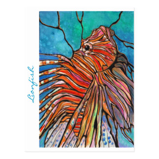 """Colorful Lionfish """"Stained Glass"""" Style Art! Postcard"""