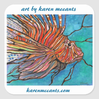 """Colorful Lionfish """"Stained Glass"""" Style Art! Square Sticker"""