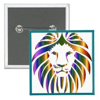 """Colorful """"lion's face"""" square button"""