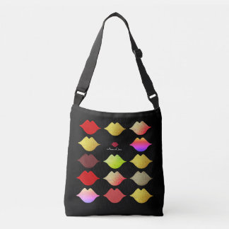colorful lips . makeup artist beauty style black crossbody bag