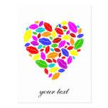 Colorful lipstick heart postcards