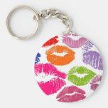 Colorful Lipstick Kisses Lip Color Basic Round Button Keychain