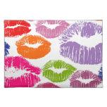 Colorful Lipstick Kisses Lip Color Placemat