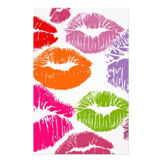 Colorful Lipstick Kisses Lip Color Stationery Design