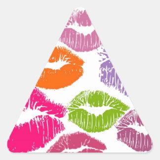 Colorful Lipstick Kisses Lip Color Triangle Stickers