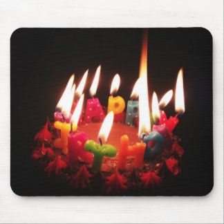 """Colorful, LitC """"Happy Birthday"""" Candles, Dark Room Mouse Pad"""