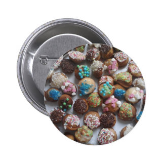colorful little birthday cakes, food, party cake 2 inch round button