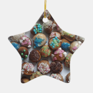 colorful little birthday cakes, food, party cake ceramic ornament