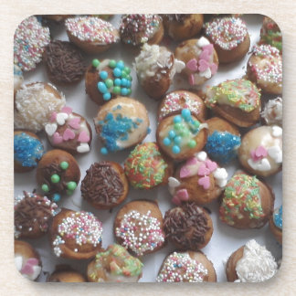 colorful little birthday cakes, food, party cake drink coaster