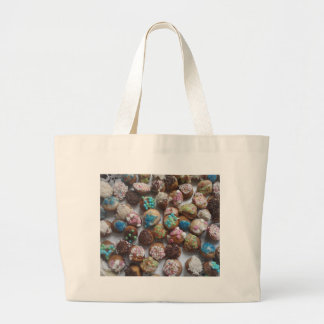 colorful little birthday cakes, food, party cake large tote bag