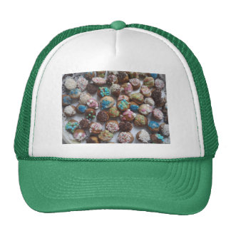 colorful little birthday cakes, food, party cake trucker hat