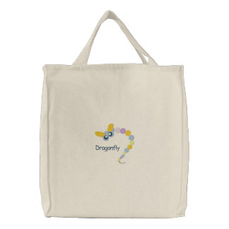 Colorful Little Dragonfly Embroidery Pattern Embroidered Tote Bag