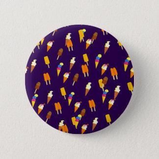 Colorful LIttle Ice Cream Pattern Dark Purple Button