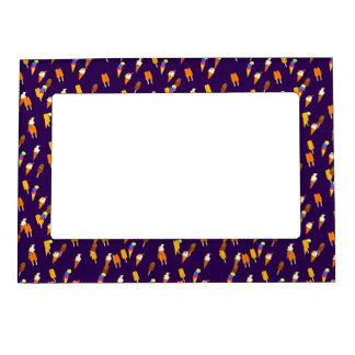 Colorful LIttle Ice Cream Pattern Dark Purple Magnetic Photo Frame