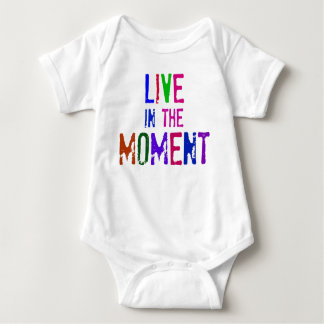 Colorful Live in the Moment Quote Typography Baby Bodysuit
