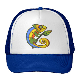 Colorful Lizard on a Branch Mesh Hat