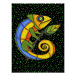 Colorful Lizard on a Branch Original Painting Poster