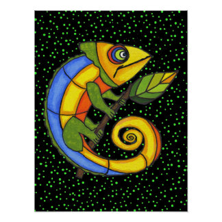 Colorful Lizard on a Branch Original Painting Print