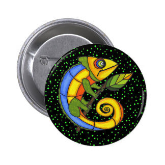 Colorful Lizard on a Branch Pinback Button
