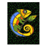 Colorful Lizard on a Branch Post Card
