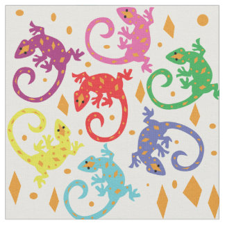 Colorful Lizards Fabric