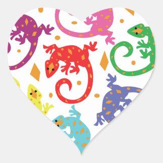 Colorful Lizards Heart Sticker