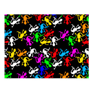 Colorful lizards - pattern postcard