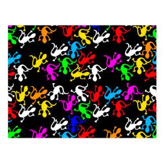 Colorful lizards pattern postcard