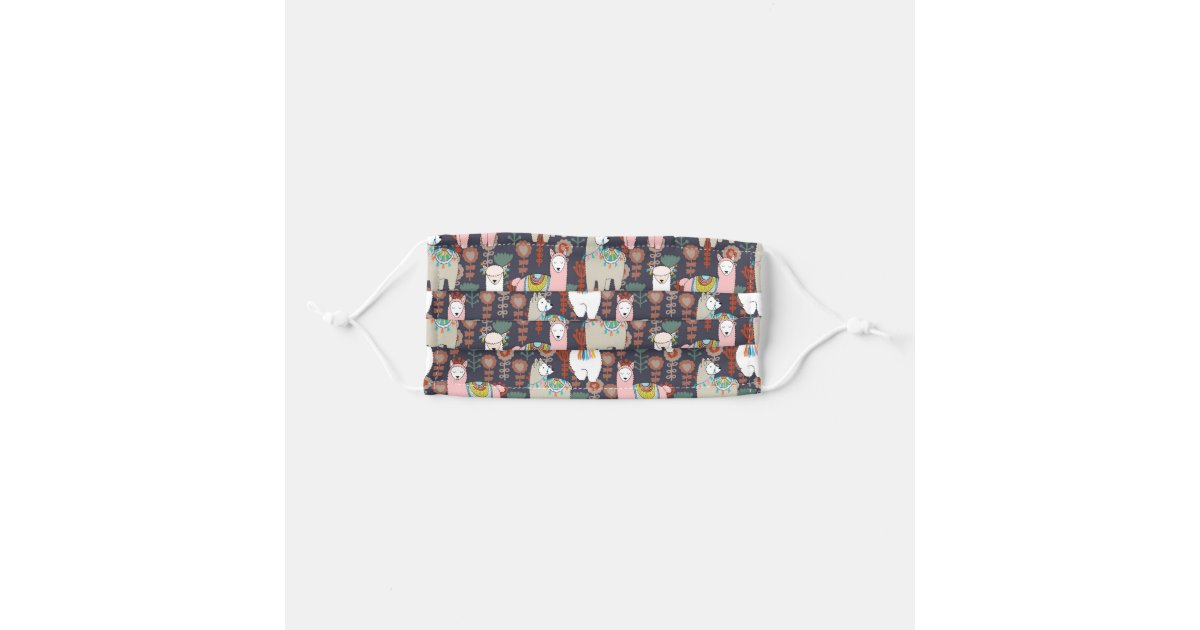 Colorful Llamas Pattern Cloth Face Maskcom