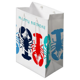 Colorful Lobsters Happy Birthday Gift Bag