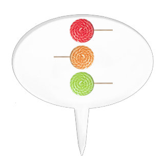 Colorful lollipop cake topper